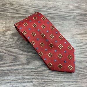 Jos A Bank Red w/ Gold & Blue Check Tie